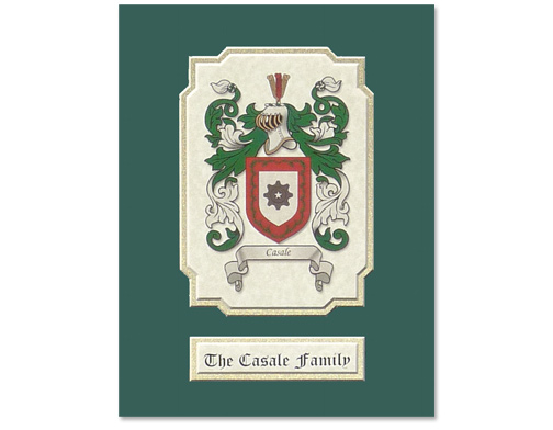 8.5x11 Mat - Green and Gold - 5x7 Opening - Coat of Arms Sample