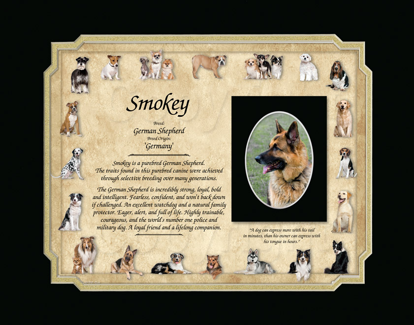 German Shepherd Keepsake - 11x14 mat with photo mat