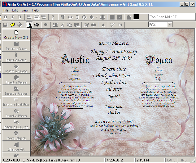 Personalized Anniversary Gift