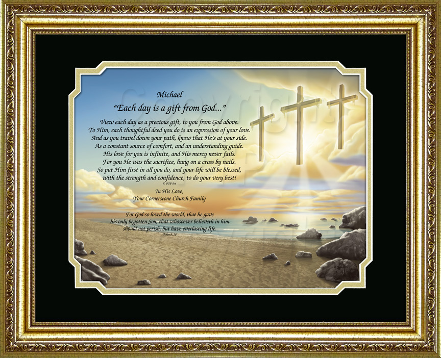 Inspirational Gift with Poem and Three Crosses